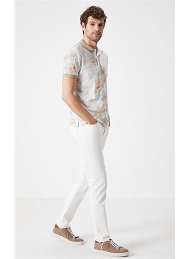 Boris Becker Slim Fit Baskılı T-shirt Bej